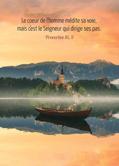 Poster Barque flottant sur un lac au crépuscule