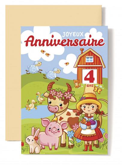 Carte double Anniversaire Fillette, lapin, cochon, vache