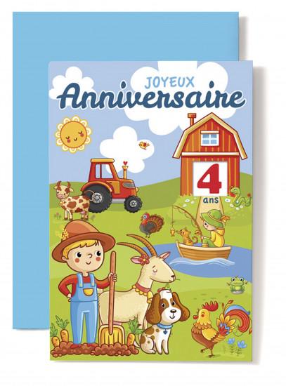 Carte double Anniversaire Garçon, coq, chien, bouc