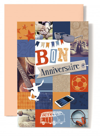 Carte double Anniversaire Converse bleue, skateboard, guitare.