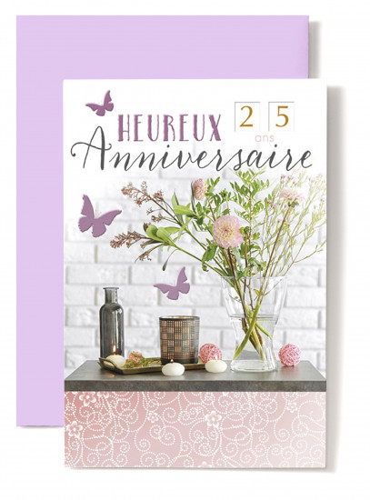 Carte double Anniversaire Fleurs roses dans vase, papillons roses.