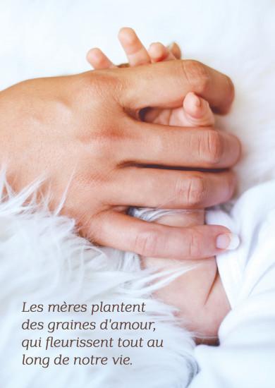 Carte citation Main de maman qui tient celle de son bébé
