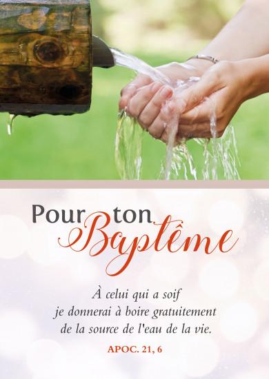 Carte avec Verset Mains recueillant de l'eau à une fontaine(BAP)