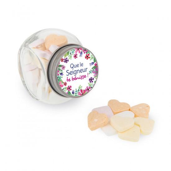 Mini-bocal Calendrier de bonbons avec des motifs floraux.