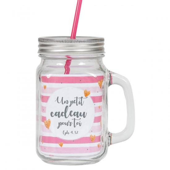 Tasse rustique avec poignée, couvercle en métal et paille rose