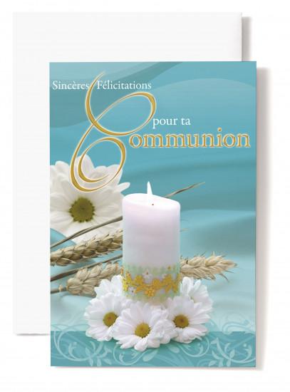 Mignonnette Communion,  bougie, marguerites, blé