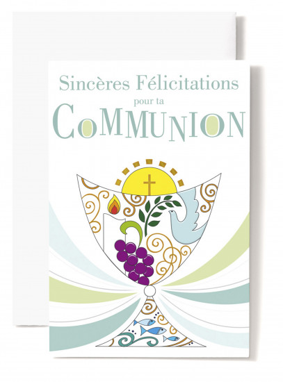 Mignonnette Communion,  colombe, bougie, raisin