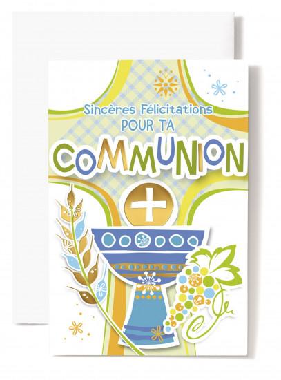 Mignonnette Communion,  coupe bleue, croix verte