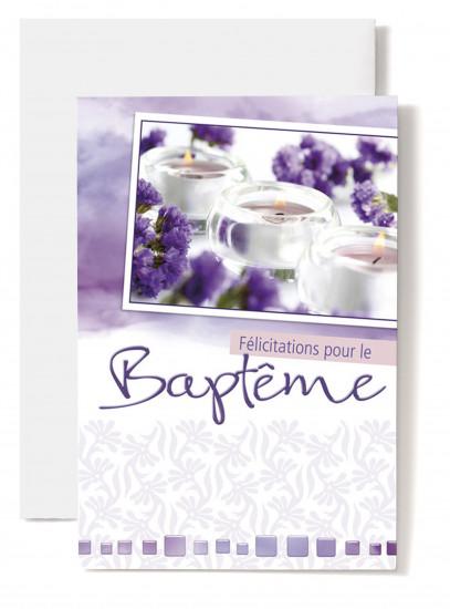 Carte double Baptême: Fleurs violettes, bougies.
