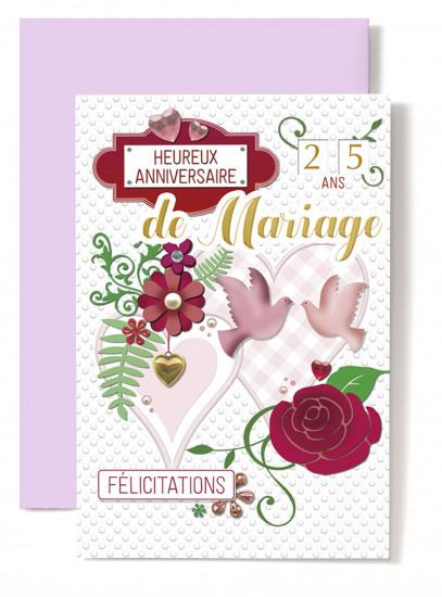 Carte double Anniversaire De Mariage Coeurs, colombes, rose rouge.