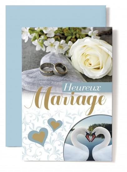 Carte double Mariage Rose blanche, alliances, cignes.