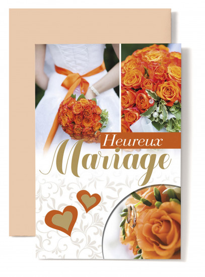 Carte double Mariage Bouquet orange, coeur orange.