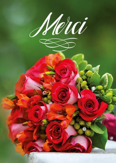 Mini Carte Bouquet de roses(Merci)