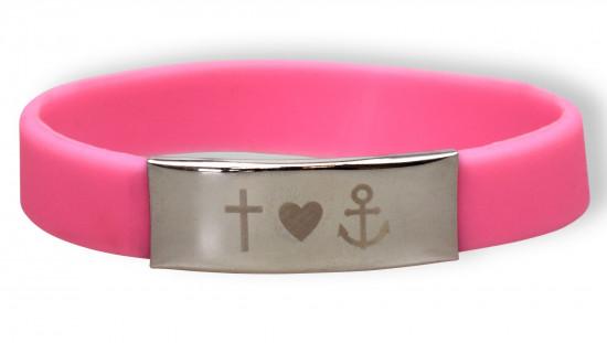 Bracelet silicone et métal - Foi, Amour, Espoir - Rose
