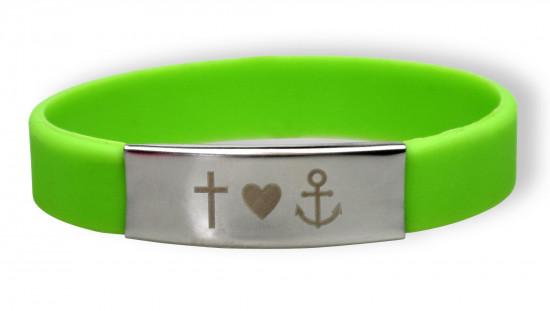 Bracelet silicone et métal - Foi, Amour, Espoir - Vert