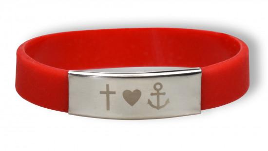 Bracelet silicone et métal - Foi, Amour, Espoir - Rouge