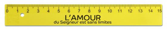 Règle en plastique jaune fluo 15cm