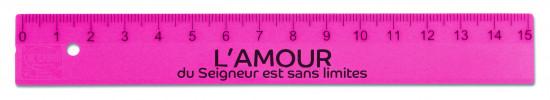 Règle en plastique rose fluo 15cm