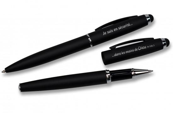 Set d'écriture stylo bille + roller métal- 14cm