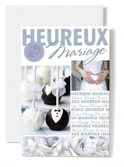 Carte double Mariage Couple, bougeoir buste homme et femme