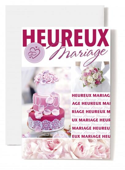 Carte double Mariage Pièce montée, bouquet rose et blanc