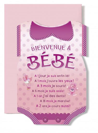 Carte double Naissance Body rose (A 1 jour je suis....)