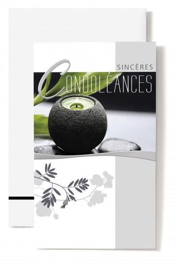 Carte double Condoléances Bougie verte, noire, galet, feuilles vertes