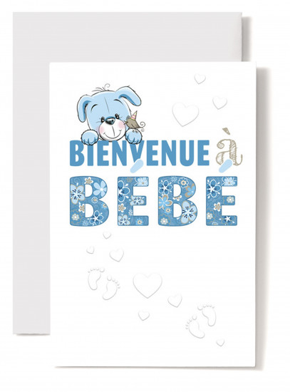 Carte double Naissance Tête de chiot bleue