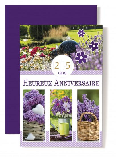 Carte double Anniversaire Jardin, lilas dans panier, fleurs dans arrosoir