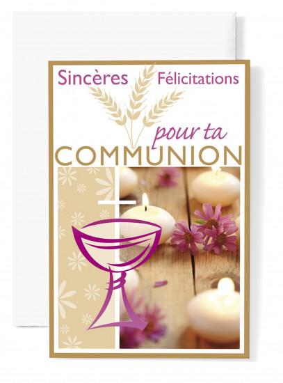 Mignonnette Communion , coupe rose, bougies blanches