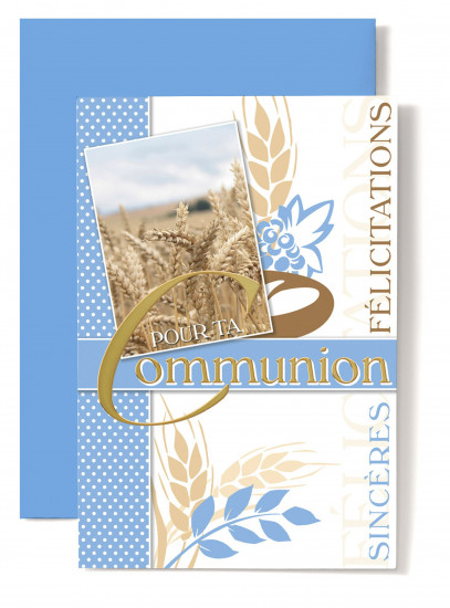 Carte double Communion Photo épis de blé.
