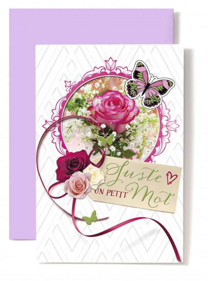 Carte double Div Roses roses dans cadre(Juste un petit mot)