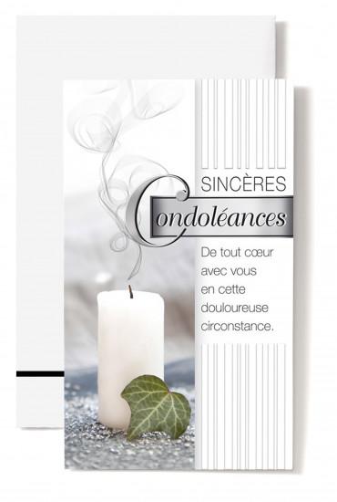 Carte double Condoléances Bougie blanche, feuille verte