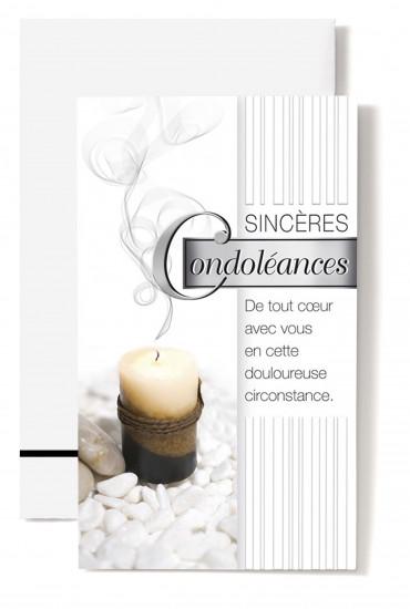 Carte double Condoléances Bougie noire, brune, beige sur cailloux blanc