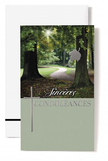 Carte double Condoléances Chemin dans forêt, croix