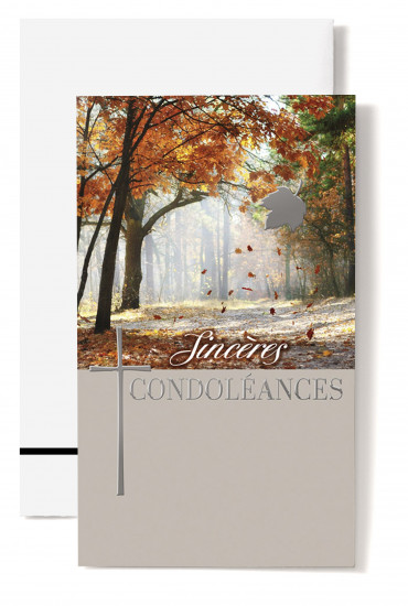 Carte double Condoléances Forêt en automne, croix, feuille argentée