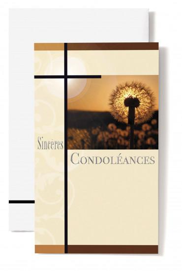 Carte double Condoléances Pissenlit au couché de soleil, croix