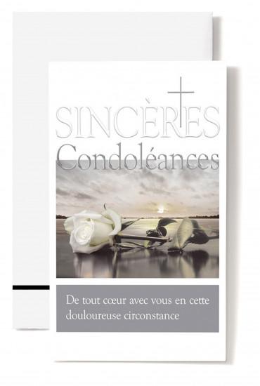 Carte double Condoléances Rose blanche sur plage, croix