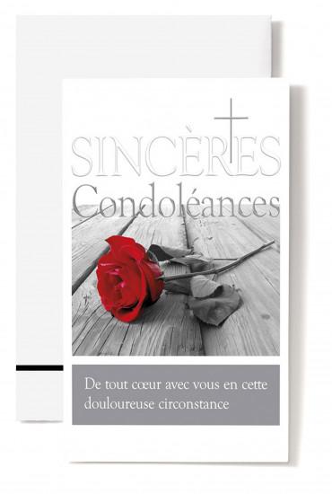Carte double Condoléances Rose rouge sur planche, croix
