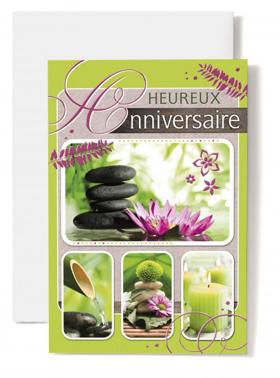 Carte double Anniversaire Nénuphare, galets, bambou, bougie verte.