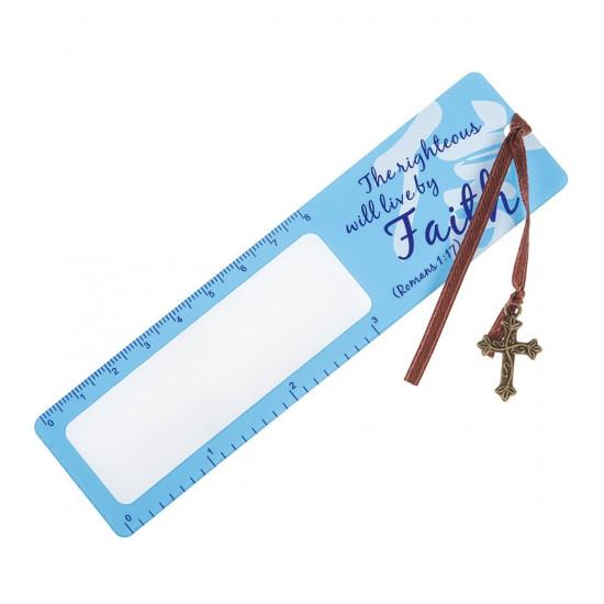 Signet loupe de lecture bleu «Faith» - Romains 1, 17