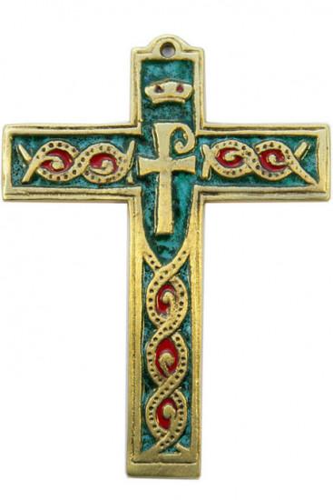 Croix murale chrisme émaillée 14 cm