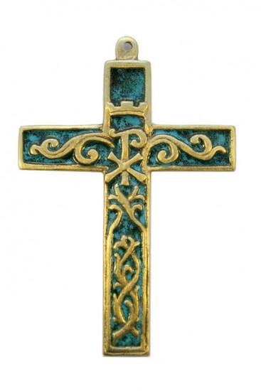 Croix bronze émaillé avec chrisme et volutes 12 cm
