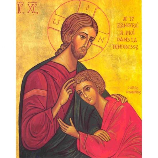 Icône Le Christ et St Jean.  Disponible en 3 tailles