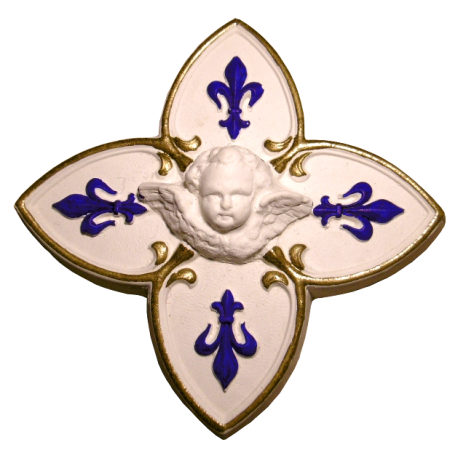 Croix fleur de lys polychrome bleu et or