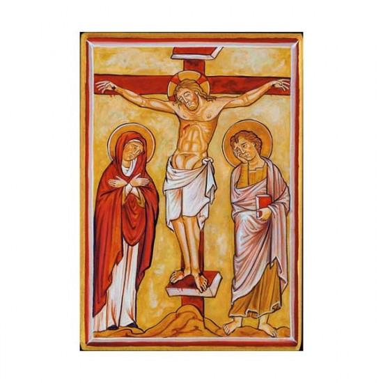 Icône de la Crucifixion. Disponible en 2 tailles avec tranche dorée.