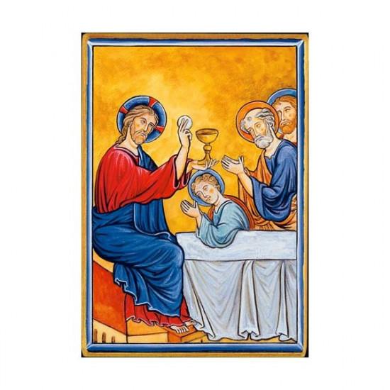 Icône  Eucharistie. Disponible en 2 tailles avec tranche dorée.