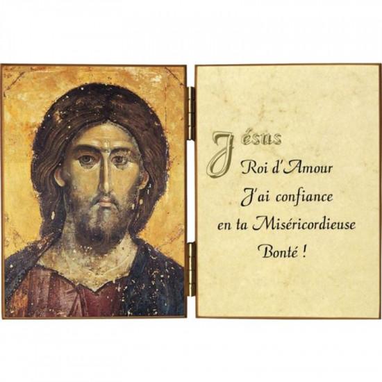 Diptyque Christ Pantocrator et  citation Jésus Roi d'Amour