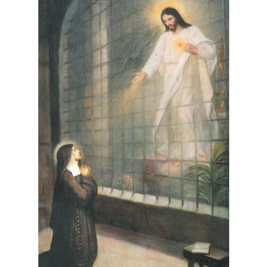 Icône Ste Marguerite Marie contemplant le Sacré Cœur. Disponible en 2 tailles