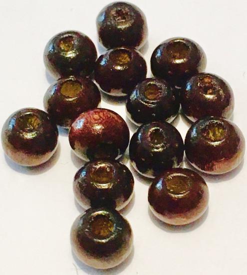Perles rondes en bois imitation olivier. 6 mm. 65 perles